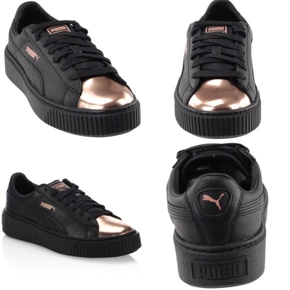 Puma Basket Platform Metallic Sneaker Rose Gld|Blk NWT